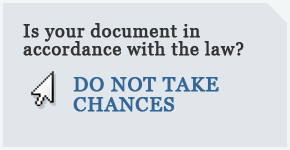 Is your document in accordance with the law?
